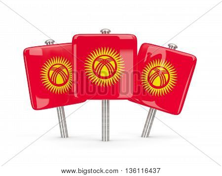 Flag Of Kyrgyzstan, Three Square Pins