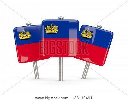 Flag Of Liechtenstein, Three Square Pins