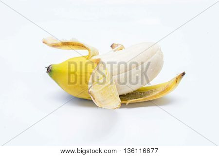 Rip Banana and peel on white background
