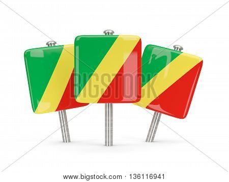 Flag Of Republic Of The Congo, Three Square Pins