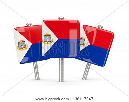 Flag Of Sint Maarten, Three Square Pins