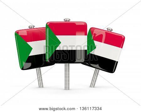 Flag Of Sudan, Three Square Pins
