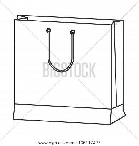 simple black line big shopping bag with handle icon vector illustration