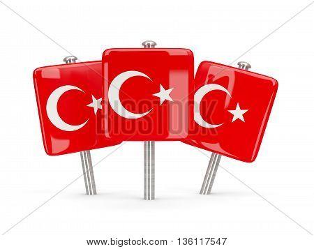 Flag Of Turkey, Three Square Pins