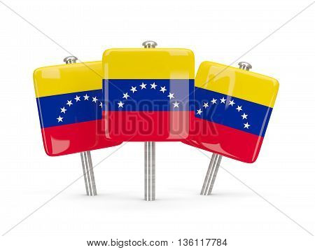 Flag Of Venezuela, Three Square Pins