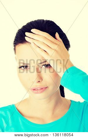 Young sad woman have big problem ,depression or headache