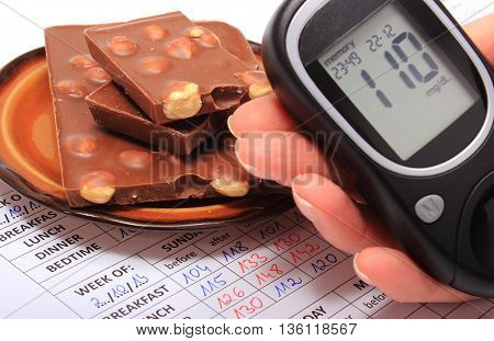Hand of woman with glucometer and portion of chocolate on medical form with results of measurement of sugar concept of measuring sugar level