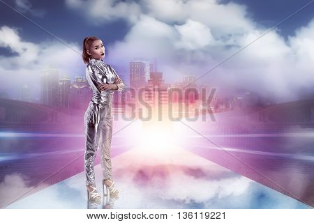 Pretty Asian Woman Wearing Latex Jumpsuit