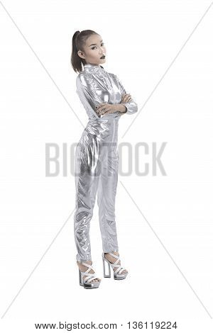 Asian Woman Wearing Silver Latex Suit