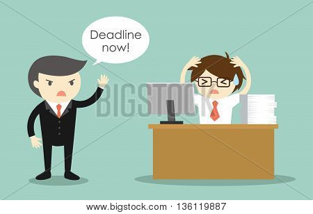 Business concept, Businessman stressed about deadline. Deadline concept.
