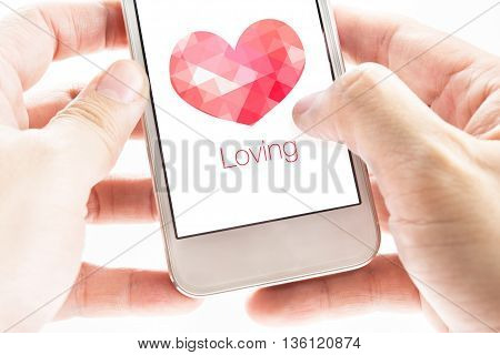 Two Hand Holding Smartphone With Pink Polygon Heart Shape And Loving Word On Screen, Love Concept