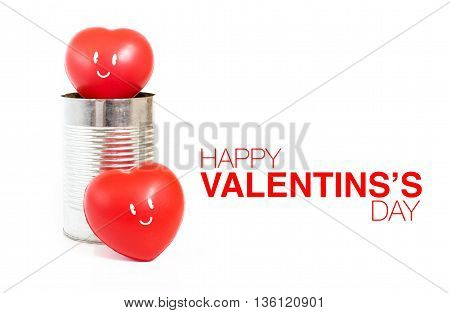 Heart With Smile Emotion In Tin Can And Happy Valentine's Day Word On White Background,love Concept