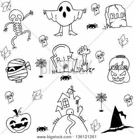 Halloween ghost pumpkins tomb costume doodle illustration