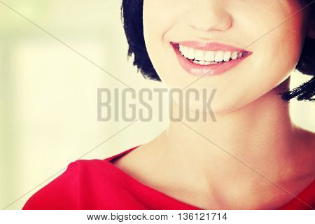 Woman with  her perfect straight white teeth.