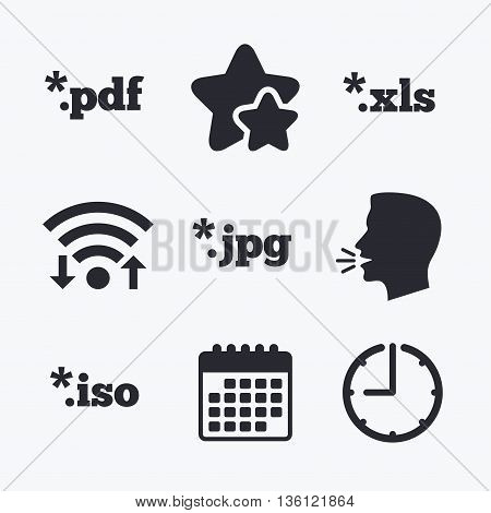 Document icons. File extensions symbols. PDF, XLS, JPG and ISO virtual drive signs. Wifi internet, favorite stars, calendar and clock. Talking head. Vector