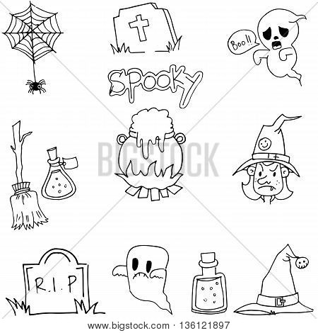 Flat doodle vector Halloween element ghost witch
