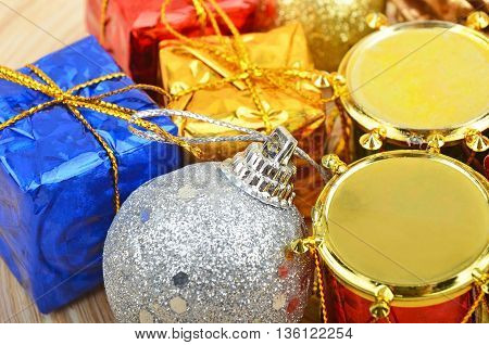 Christmas ball and decoration on wooden background DOF