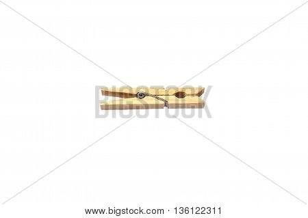 clothespin brown of wood lying white background