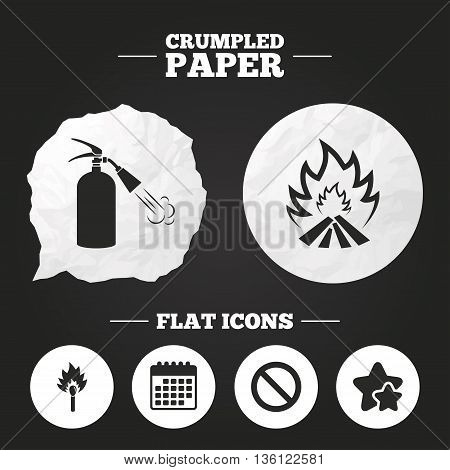 Crumpled paper speech bubble. Fire flame icons. Fire extinguisher sign. Prohibition stop symbol. Burning matchstick. Paper button. Vector