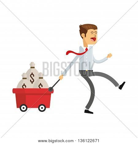 flat design business man with money icon vector illustration