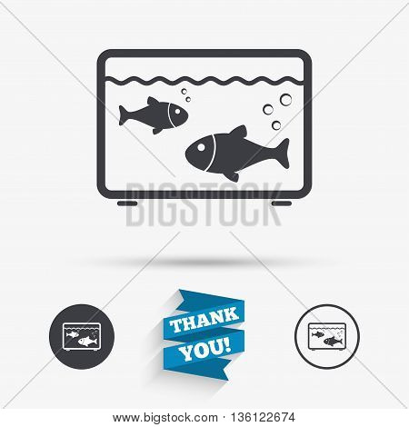Aquarium sign icon. Fish in water symbol. Flat icons. Buttons with icons. Thank you ribbon. Vector