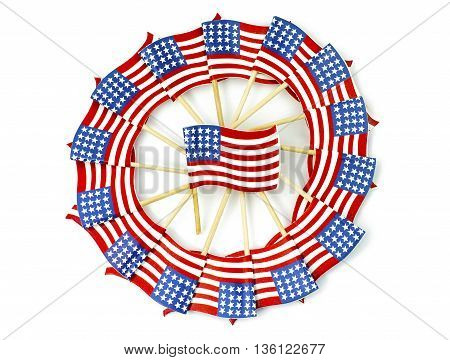 American flags in a pinwheel shape isolated on white