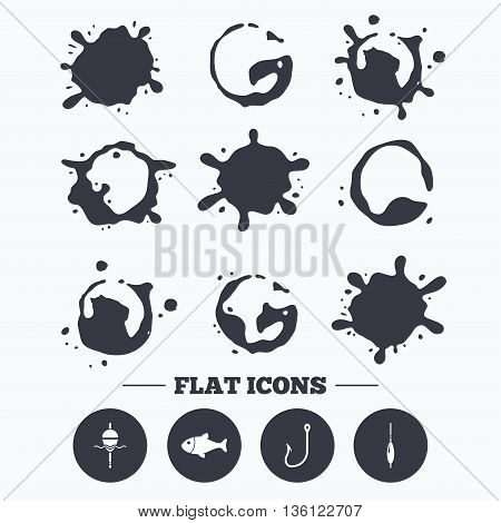 Paint, coffee or milk splash blots. Fishing icons. Fish with fishermen hook sign. Float bobber symbol. Smudges splashes drops. Vector