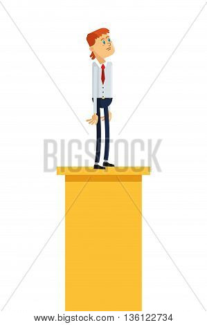 flat design businessman looking up standing on platform icon