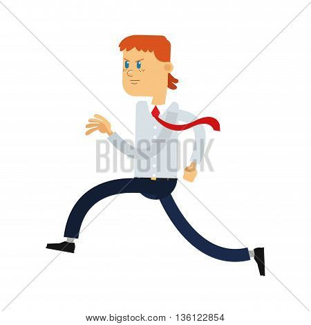 flat design red hair office worker running vector illustration
