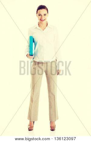 beautiful business woman holding file.