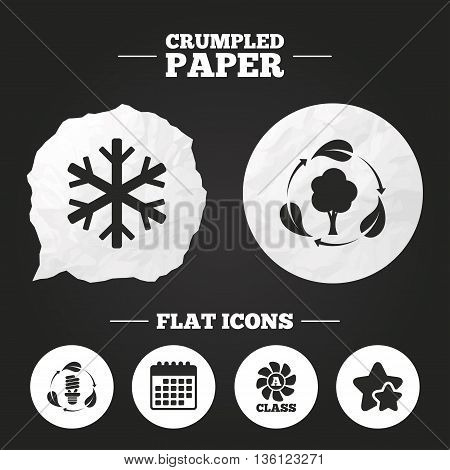 Crumpled paper speech bubble. Fresh air icon. Forest tree with leaves sign. Fluorescent energy lamp bulb symbol. A-class ventilation. Air conditioning symbol. Paper button. Vector