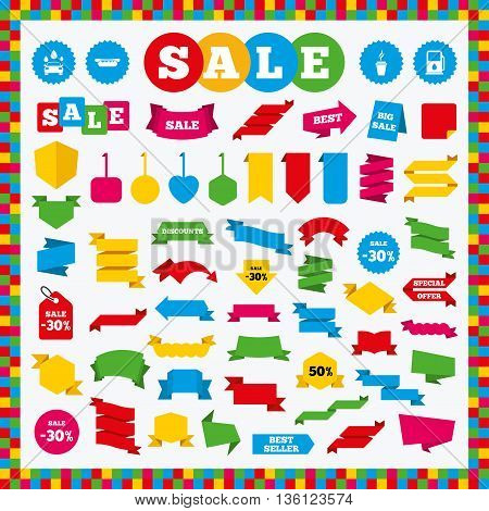 Banners, sale stickers and sale labels. Petrol or Gas station services icons. Automated car wash signs. Hotdog sandwich and hot coffee cup symbols. Sale price tags. Vector