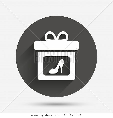 Gift box sign icon. Present with woman shoes symbol. Circle flat button with shadow. Vector