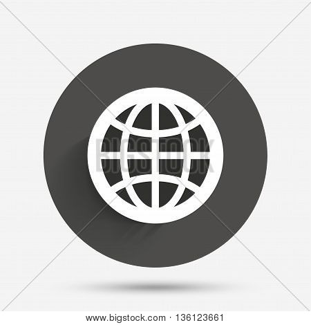 Globe sign icon. World symbol. Circle flat button with shadow. Vector