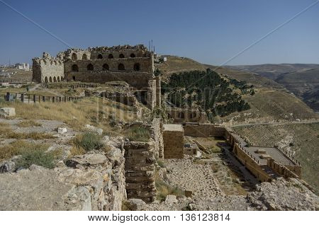 Ruins Of The Kerak Castle, A Large Crusader Castle In Kerak (al Karak) In Jordan