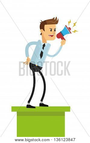 flat design business man with megaphone standing on platform icon vector illustration