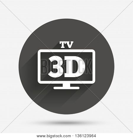 3D TV sign icon. 3D Television set symbol. New technology. Circle flat button with shadow. Vector