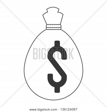 simple black line money bag icon vector illustration