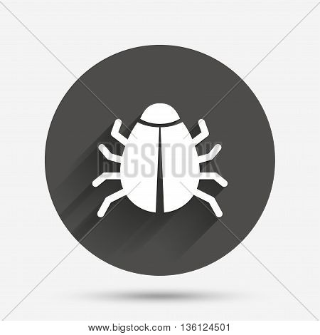 Bug sign icon. Virus symbol. Software bug error. Disinfection. Circle flat button with shadow. Vector