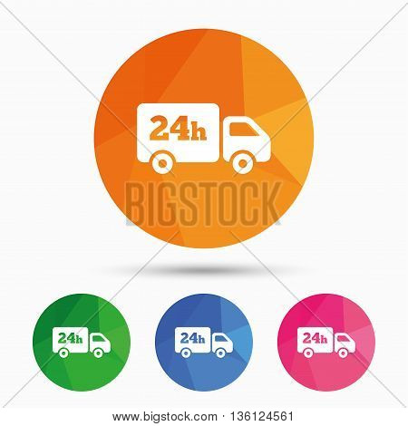 24 hours delivery service. Cargo truck symbol. Triangular low poly button with flat icon. Vector