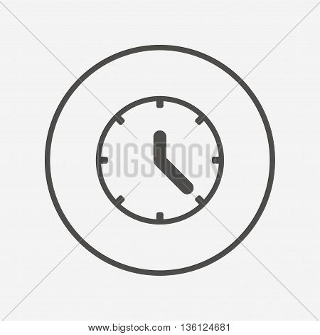 Clock sign icon. Mechanical clock symbol. Flat clock icon. Simple design clock symbol. Clock graphic element. Round button with flat clock icon. Vector