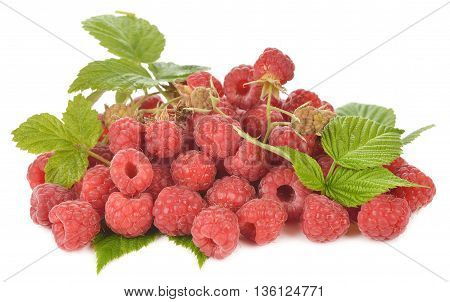 Fresh raspberries isolated on white background close up