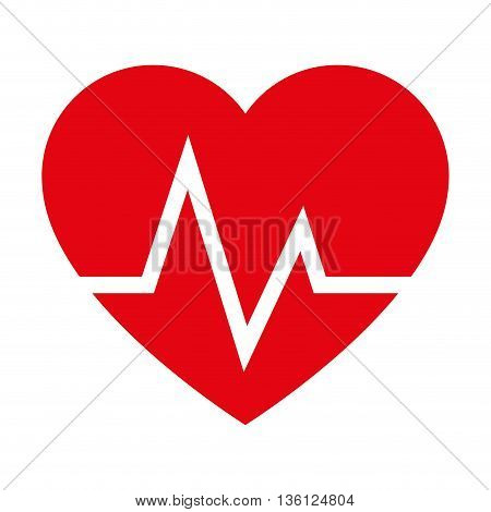 simple flat design heart and cardiogram icon vector illustration