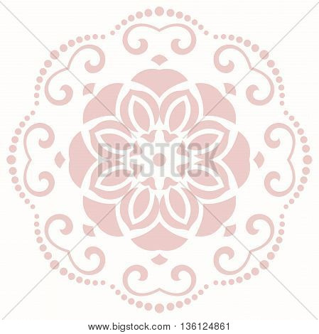 Floral pattern with fine arabesques. Abstract oriental round pink ornament