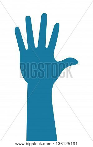 blue simple flat design hand silhoutte icon vector illustration