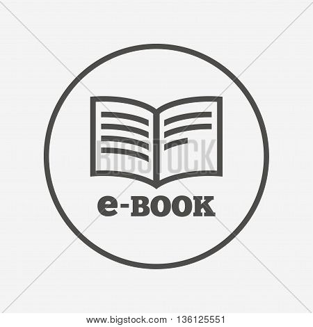 E-Book sign icon. Electronic book symbol. Flat e-book icon. Simple design e-book symbol. E-book graphic element. Round button with flat e-book icon. Vector