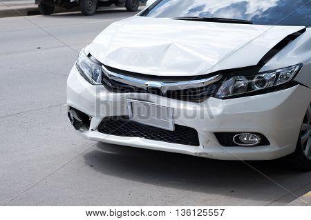 Car accident, car after crashed, close up