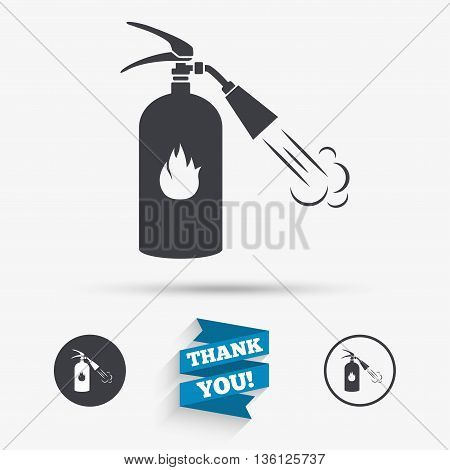 Fire extinguisher sign icon. Fire safety symbol. Flat icons. Buttons with icons. Thank you ribbon. Vector