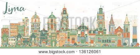 Abstract Lima Skyline with Color Buildings. Business Travel and Tourism Concept with Lima City. Image for Presentation Banner Placard and Web Site.