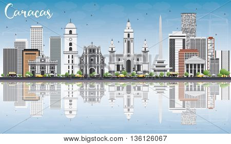 Caracas Skyline with Gray Buildings, Blue Sky and Reflections. Business Travel and Tourism Concept with Historic Buildings. Image for Presentation Banner Placard and Web Site.